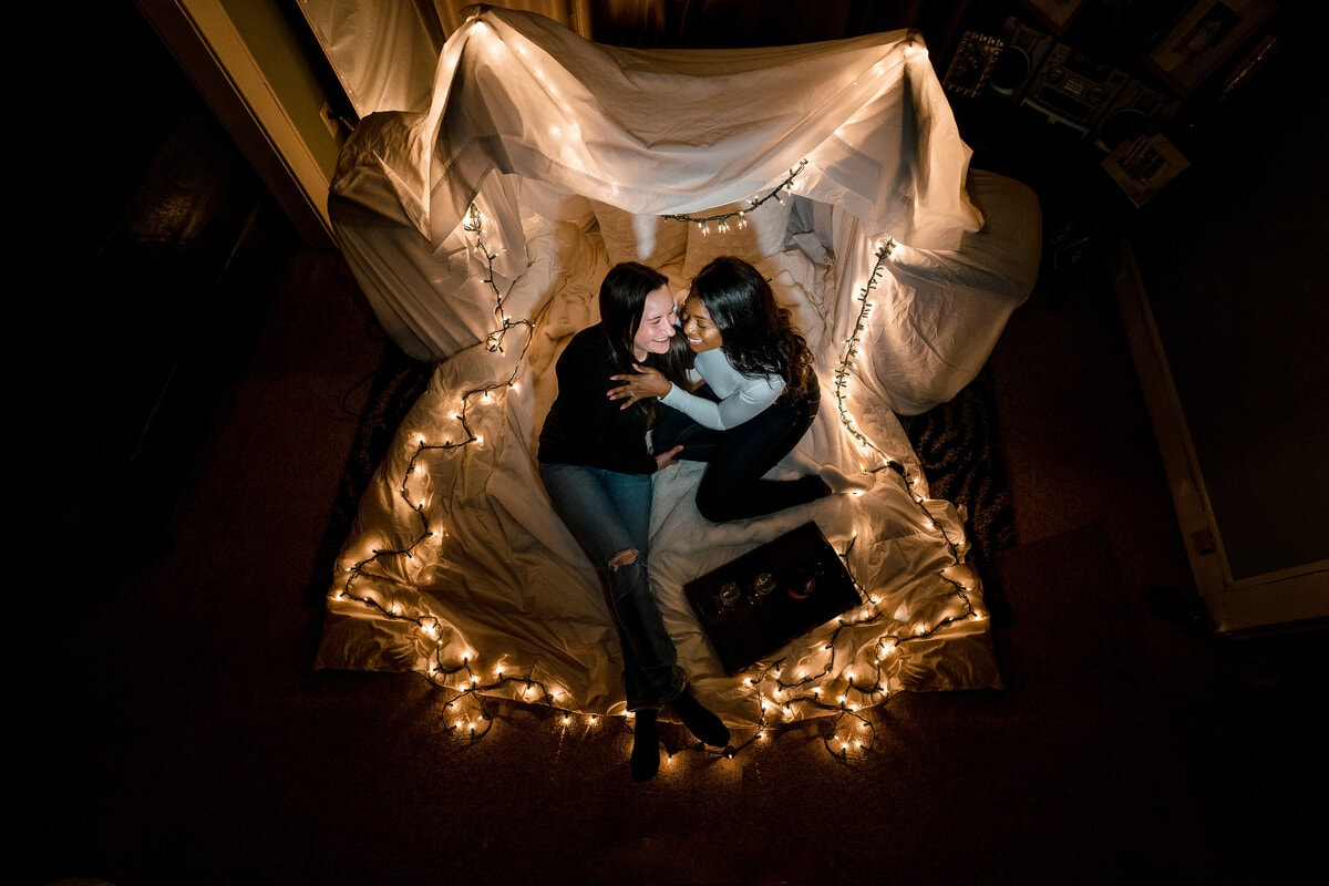 couple in lights photo